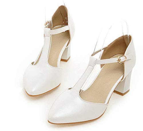 Donna Ballet Luccichio Tacco Bianco Puro AgooLar Medio Flats Fibbia GMMDB010566 pCqdx6w