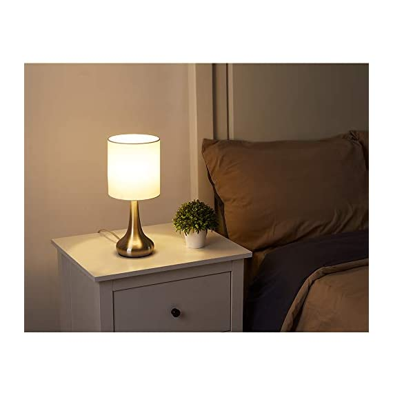 """FERWVEW Modern Small Table Lamp, Bedside Desk lamp with White Fabric Shade, Nightstand Table Lamps for Living Room Bedroom Study Room - Simple and concise style in a brush nickle lamp base with white fabric shade, the small table lamp gives off a romantic and warm atmosphere anywhere in your home decor. Wonderful gifts for the coming Thanksgiving Day to your friends, relatives or business partners. Dimension: 5.9"""" D x 13.4"""" H. Bulb: Each lamp takes AC 110V-120V, 60 Wattage Max. E26 socket, compatible with CFL, LED, Incandescent Bulbs (Bulbs Not Included). UL Listed. Comes with all mounting hardware and instruction for easy installation. - lamps, bedroom-decor, bedroom - 414WpOFR7gL. SS570  -"""