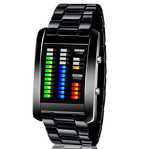 Men's Digital Watch Binary Time LED Display Waterproof Alloy Band Stopwatch Creative Sport Army Wristwatches, Black
