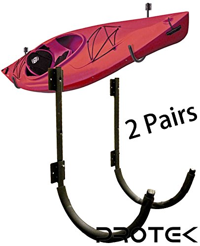 Protek 2 Pair of Indoor Outdoor 150 Lbs Kayak Canoe SUP Board Paddleboard Snowboard Surfboard Wakeboard Ski Storage Dock or Wall Mount Hook Display Rack Cradle Bar by Protek Sports