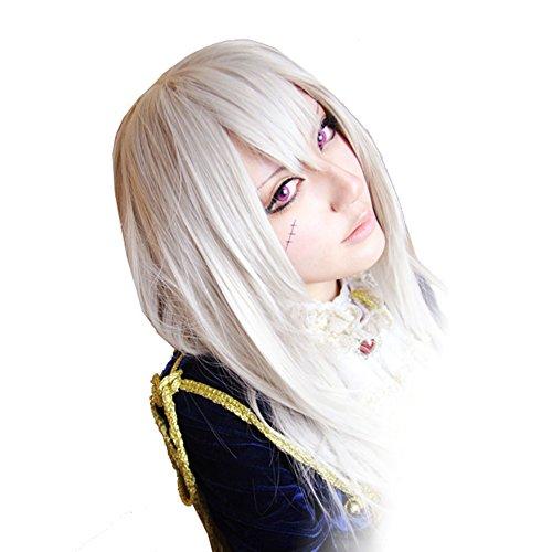 Hetalia Prussia Halloween Cosplay (Xcoser Hetalia Prussia Julchen Beillschmidt Cosplay Silvery White Long Straight)