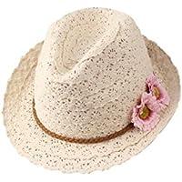 Leisial Mujer Sombrero de Jazz Paja Algodón con Flora Sombrero de Playa de ala Ancha Hueco Sombrero para el Sol…