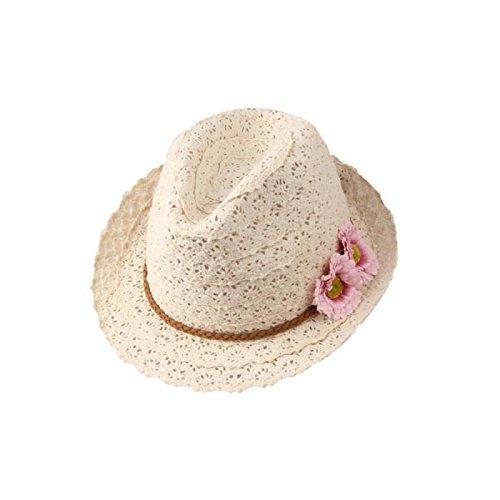Skyeye Modelos Femeninos Dulces Flores de Yerano Decoradas Sombrero de Piel con Tela de Encaje Sombrero de Paja Hueca Sombrero de Jazz Playa Femenina (Dos Flores) Sombrero de Sol de Verano