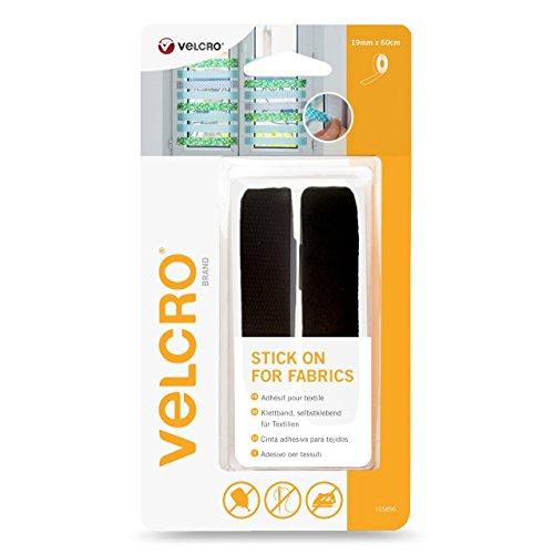 VELCRO selbst Klettverschluss für Textilien - Band 19 mm x 60 cm, schwarz, VEL-EC60411