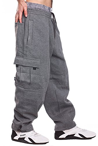 Mens Fleece Cargo Sweatpants, 4XL, Dark Grey