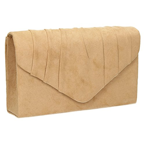 SwankySwans - Iggy Suede Velvet Envelope Party Prom Clutch Bag, Sacchetto Donna Tan