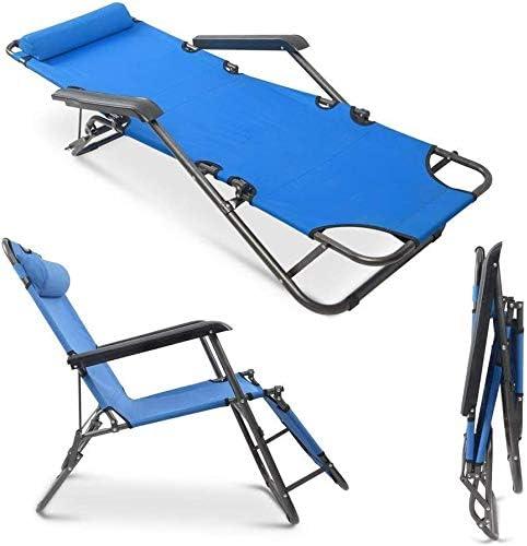 Fuara Folding Beach Lounge Chair, Portable Outdoor Camping Reclining Chairs Patio Pool Beach Chaise Lawn Recliner