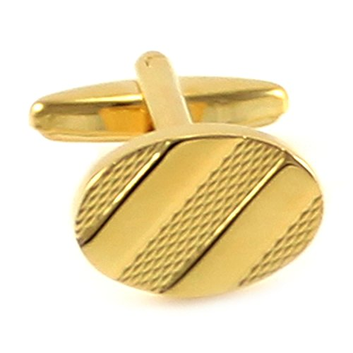 (MENDEPOT Classic Gold Plated Oval Stripes Cufflinks with Box)