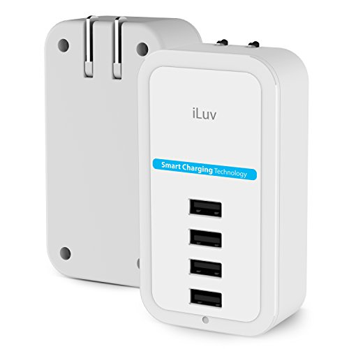 iLuv Compact 4 Port USB Wall Charger with Smart Charging Technology, Safety Design, Quick Charging, and Durability for iPhone, iPad, iPad, Smartphones, Tablets, and Other USB - Iluv Ac Adapter