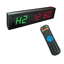 GAN XIN 1'' High 6 Digits LED Interval Timer, with Countdown/up Clock, 12/24-H Real Time Clock, Stopwatch by Remote Control, for TABATA/FGB, GYM BOXING, EMOM, HIIT, MMA.