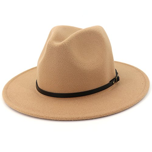 Lisianthus Women Wide Brim Wool Fedora Panama Hat with Belt Buckle Camel]()