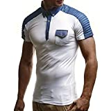 Gibobby_Shirt for Men Casual Short Sleeve Denim Fold Plus Size Simple Button Down Tops Tee Shirts with Pockets