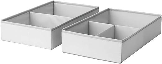 IKEA ASIA SLAKTING - Caja con compartimentos, color gris y verde: Amazon.es: Hogar