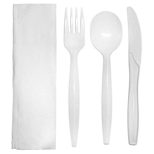Karat U2201W PP Medium-Heavy Cutlery Kits – White (Case of 250)