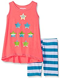 """Kidtopia Little Girls' """"Star Contrast"""" 2-Piece Outfit"""