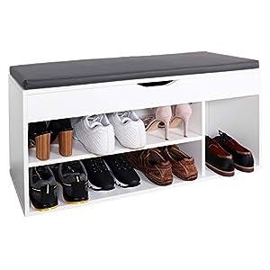 RICOO WM034-W-A Meuble à Chaussures 103x49x30cm Bois Blanc Banc Coffre Rangement Commode Banquette Meuble de Rangement…