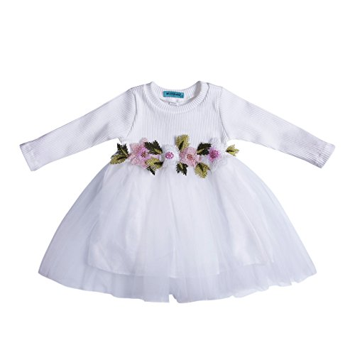 Floral Jersey Dress (Toddler Kids Girls Fall Jersey Dress Long Sleeve Floral Tulle Cap Tutu Dresses Outfit (3-9months, White))