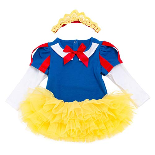 - Jurebecia Baby Girls Snow White Costume Bodysuit Princess Dress up Xmas Romper Photography Prop Outfit 3Pcs Set Size 12M