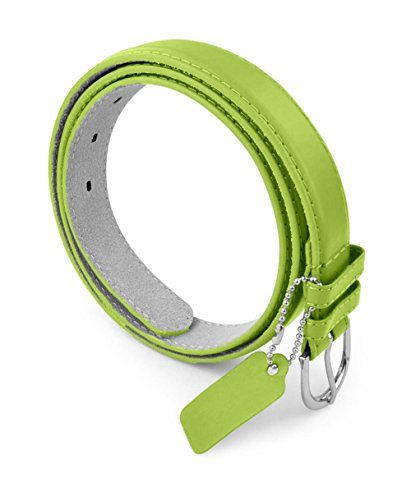 Womens Dress Belt - Solid Color Bonded Leather Silver Polished Buckle Belle Donne - Light Green Small (Belt Belted Lace)