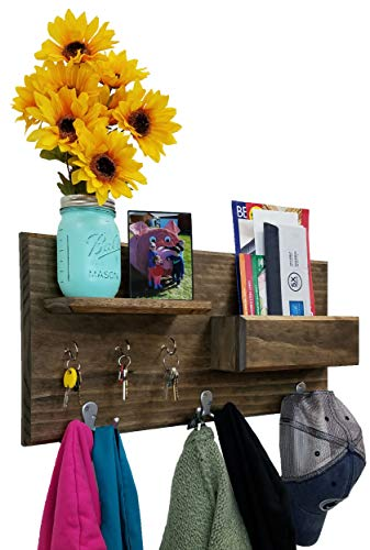 Hamilton Elite Wall Mounted Organizer features 3 double coat hooks, 3 key hooks, display shelf along with a mail holder. Available in 20 Stains : Shown in Dark Walnut