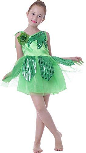 [Girl's Kid School Shows Lotus Dance Costumes Dress Carnival Halloween (green, 6/7)] (Green Themed Costumes)