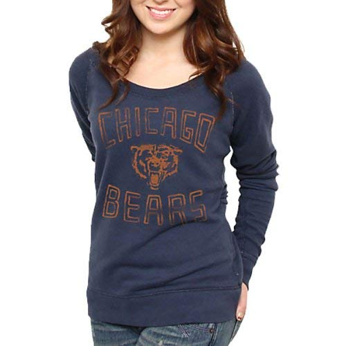 - Junk Food Chicago Bears Ladies Classic Off-The-Shoulder Sweatshirt Navy Blue (Medium)
