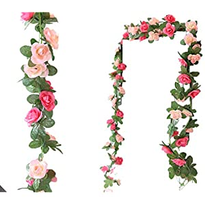 Anlise 6.5Ft Artificial Rose Vines Fake Silk Garlands Flowers Hanging Rose Ivy Plants for Hotel Wedding Home Party Garden Craft Art Decor, Pack of 2 6