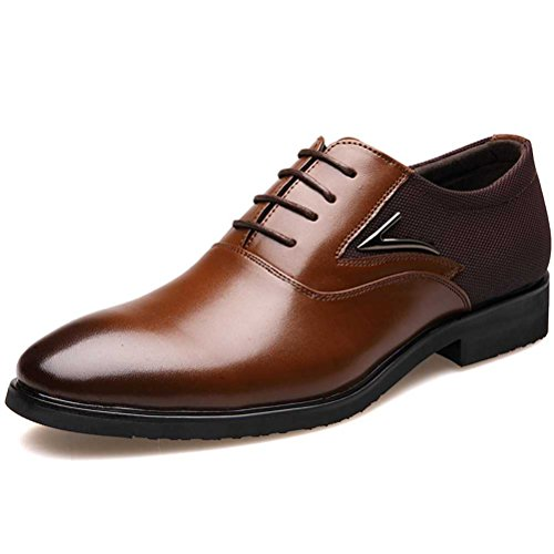 Men's Dress Shoes, Modern Classic Lace Up Round-Toe Wide Width Low Top Semi Formal Casual Oxfords Shoe Brown 9.5