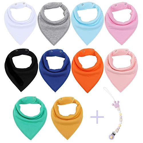 (Vetoo Baby Bandana Drool Bibs for Boys and Girls, Organic, Plain Colors, Unisex 10 Pack Baby Shower Gift Set for Teething and Drooling, Soft Absorbent and Hypoallergenic (Solid Colors))