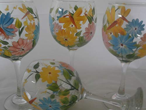 Hand painted pastel spring daisies and butterflies goblets. set of 4 20 ounce red wine gobblets. - Wine Daisy