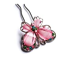 Hair Butterfly Crystal Hair Pin Fork - PINK