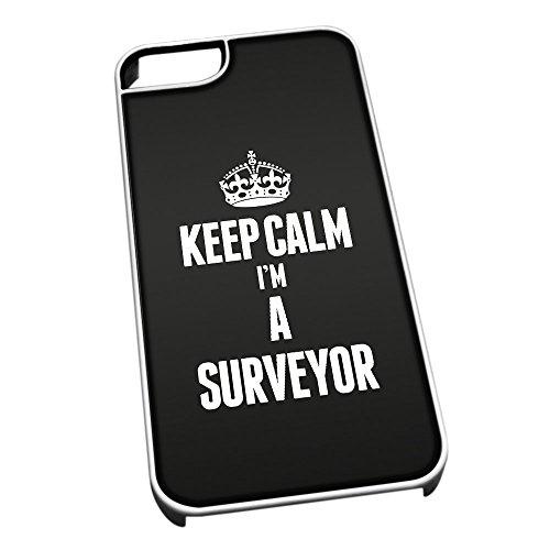 Bianco cover per iPhone 5/5S 2687nero Keep Calm I m A Surveyor