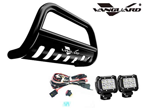 VANGUARD VGUBG-1853BK-LED For Jeep Renegade 2015-2019 Bumper Guard Black Bull Bar with Skid Plate and 2 PC LED Cube Lights Combo