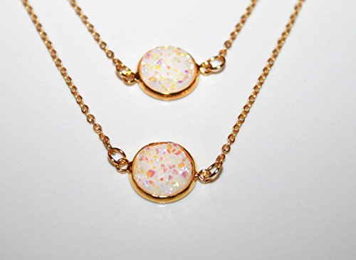 (Opal White Necklace Gold plated Jewelry 12 mm)