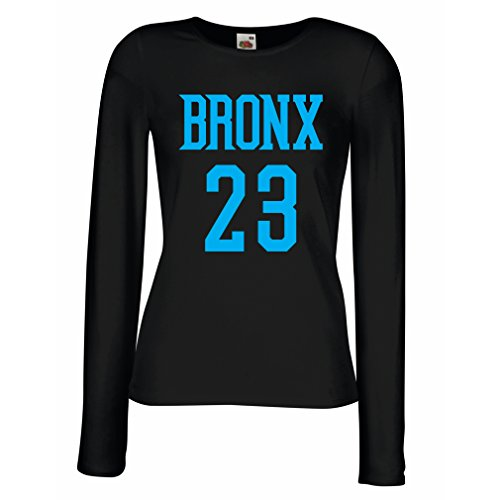 lepni.me T Shirt Women Bronx 23 - Street Style Fashion (XX-Large Black Blue)
