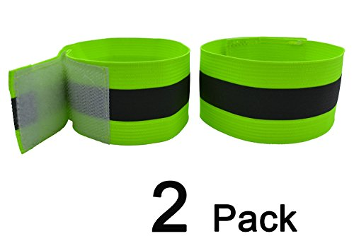 High Visibility Reflective Night Running Walking Elastic Strap Wristbands Ankle Bands Armbands Safety for Cycling Walking Running Camping Outdoor Sports-Fits Women, Men & Kids (2 Bands/1 - Strap Cycling Ankle