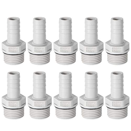 - uxcell PVC Barb Hose Fitting Connector Adapter 12mm or 15/32 inches Barbed x 1/2 inches G Male Pipe 10pcs