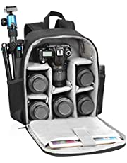 Camera Backpack Waterproof Professional DSLR/SLR Camera Bag Compatible with Sony Canon Nikon Lenses Tripod Mirrorless Cameras and Accessories-Black