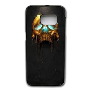 Wunatin Hard Case ,Samsung Galaxy S7 Cell Phone Case Black Gilded Skull 2 [with Free Tempered Glass Screen Protector]BA--96380