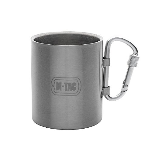M-Tac Travel Coffee Mug Thermal Cup Stainless Steel with Carabiner Handle 9 Oz by M-Tac