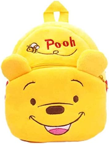 New Cute Cartoon Characters Kids Plush Backpack with Plush Toy Cool School Bag Gifting (Pooh)