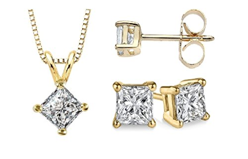 parikhs-princess-cut-diamond-pendant-stud-set-popular-quality-yellow-gold-090-ctw-i2-clarity