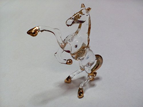 Glass Gourd Figurine (Lampwork COLLECTIBLE MINIATURE HAND BLOWN Art GLASS Glass Horse , Size S FIGURINE ( Ayutthaya shop)
