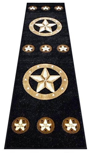 Runners Western Rug - Champion Rugs Texas Star Western Black Area Rug Design #CR81 (2 Feet x 7 Feet 3 Inch Runner)