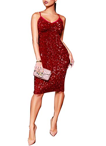 Sexy Club Mini Dress for Women Glitter Sequin Backless Spaghetti Straps Solid Color Prom Party Evening Dresses Red L