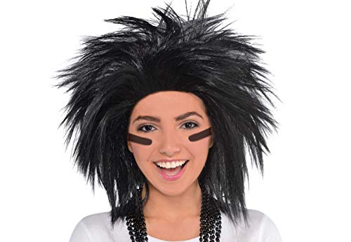 Amscan Game Ready Team Spirit Party Crazy Wig Accessory, Black, Synthetic Hair , One Size