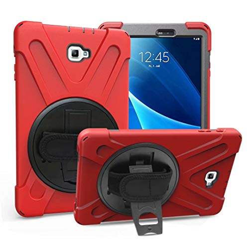 - EAZOM BAUBE Galaxy Tab A 10.1'' Case, Rugged Military Armor Hybrid Hard Rubber Case Cover with Stand & Hand Strap for Samsung Galaxy Tab A 10.1 inch SM-T580 T581 T585 T587(No S Pen), Red