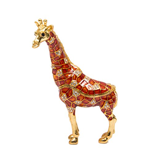 QIFU-Hand Painted Enameled Giraffe Style Decorative Hinged Jewelry Trinket Box Unique Gift for Home Decor ()