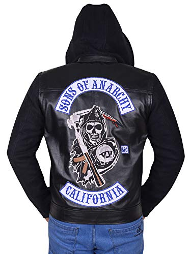 (Sons of Anarchy Jax Teller Hoodie Leather Jacket Black)