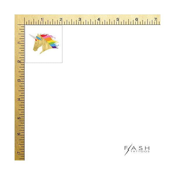 RAINBOW UNICORN set of 25 premium waterproof temporary colorful metallic gold jewelry foil Flash Tattoos – party favors 6